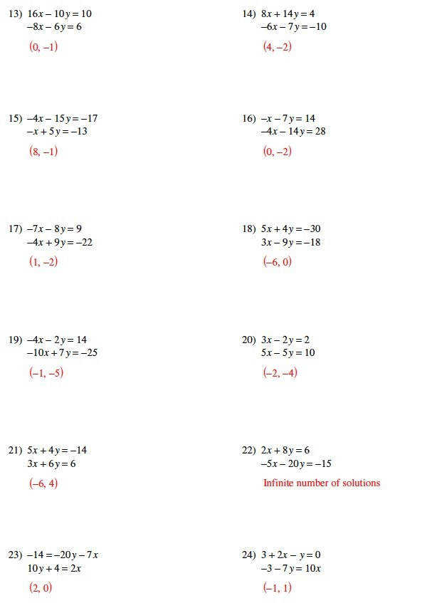 Solving Systems of Equations Matching Worksheet