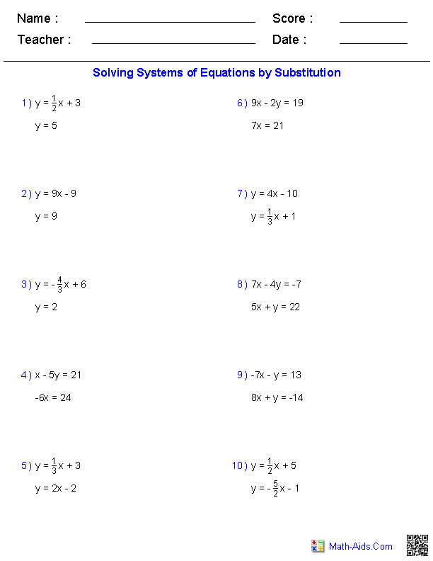 Systems Of Equations Worksheet