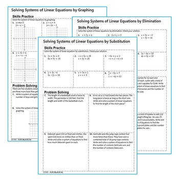 SYSTEMS OF LINEAR EQUATIONS Homework Worksheets Skills Practice & Word Problems