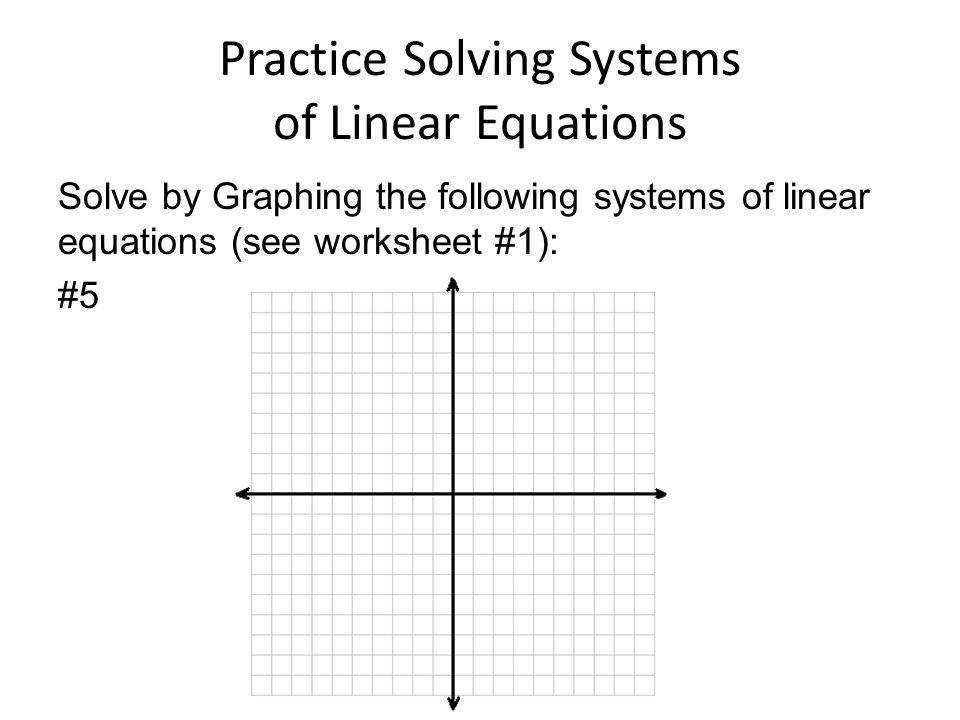 11 Practice Solving Systems of Linear Equations Solve by Graphing the following systems of linear equations see worksheet 1 5