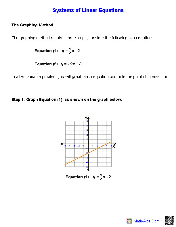 Handout for Systems of Equations and Inequalities Worksheets