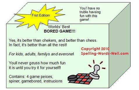 board game package with spelling errors