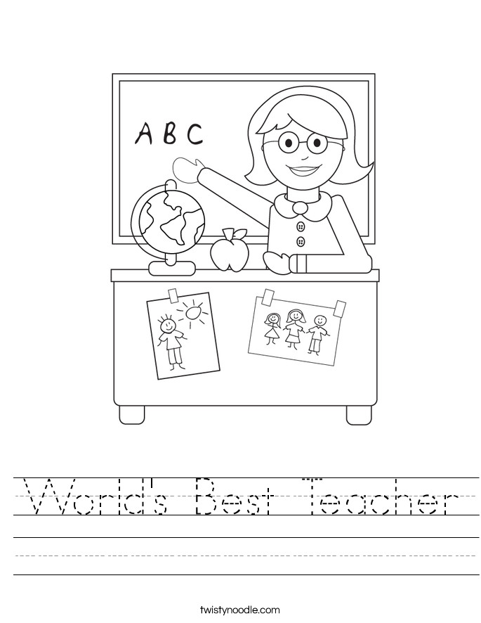 World s Best Teacher Handwriting Sheet