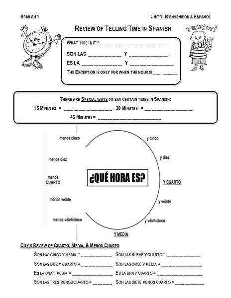 review telling time in spanish worksheet 464—