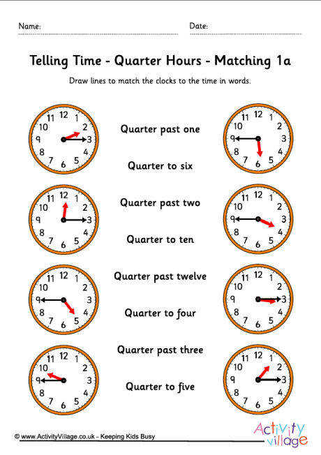 telling time worksheets quarter hours pack 5 460 1