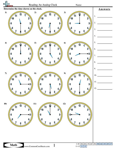 Reading An Analog Clock 15 minute increments worksheet