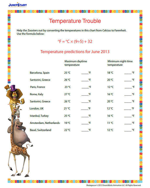 Temperature Trouble – Printable Conversion Worksheet for 6th Grade