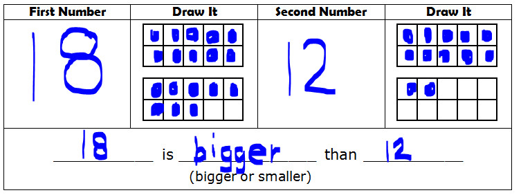 Ten Frames for paring Numbers to 20 Example