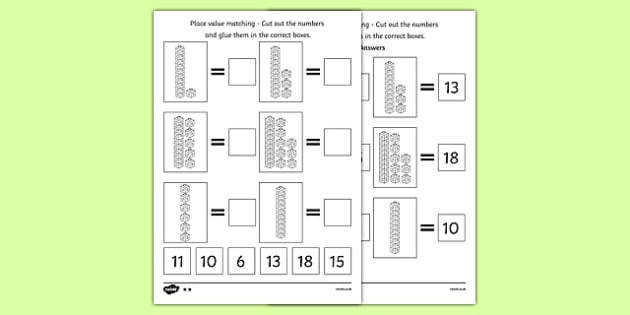 Place Value Tens and es Cut and Stick Worksheet counting Place value base