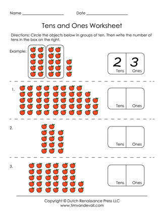 Free Printable Tens and es Worksheets for Grade 1