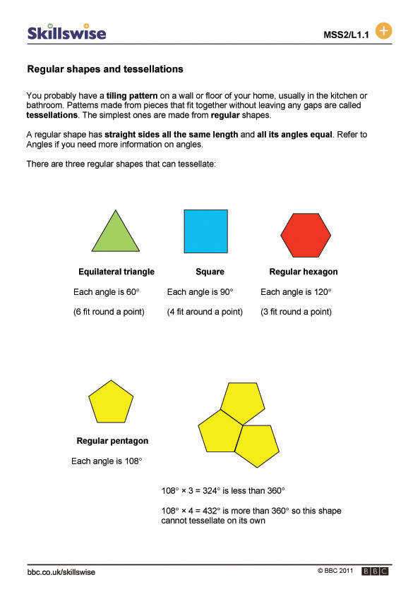 2 D shapes Regular shapes and tessellations