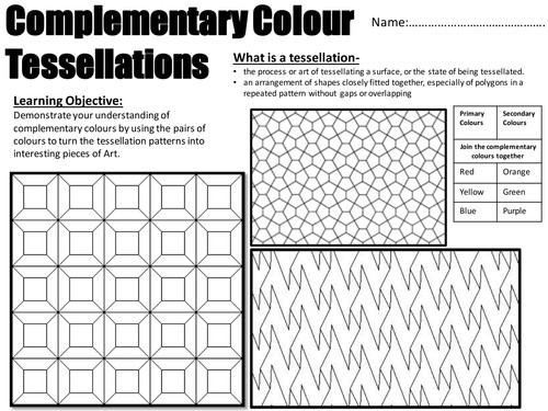 Year 7 Art and Design plementry Colours utilizing Tessellation by HannahRumbleONeill Teaching Resources Tes
