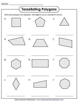 Tessellations Worksheets