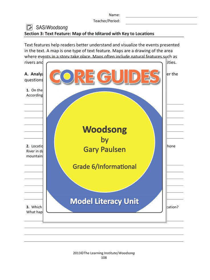 "Enjoy this FREE text feature worksheet for use with the informational text ""Woodsong"" by"
