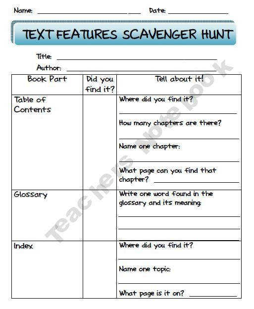 17 best ideas about Text Features Worksheet on Pinterest