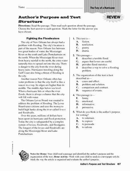 Author s Purpose Worksheet Inspirational Author S Purpose and Text Structure 4th 5th Grade Worksheet