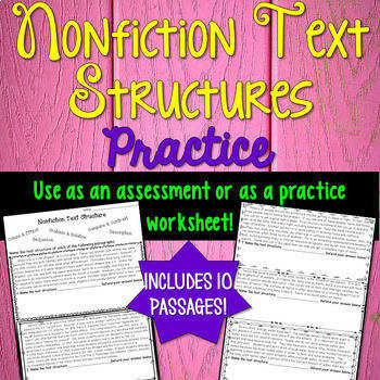 Informational Text Structure Assessment or worksheet