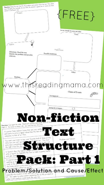 FREE Nonfiction Text Structure Pack Part 1 Problem Solution and Cause Effect