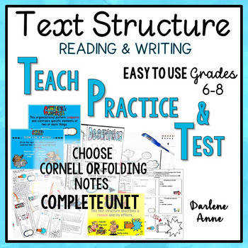 NONFICTION TEXT STRUCTURE READING WRITING POWERPOINT NOTES WORKSHEETS & TEST