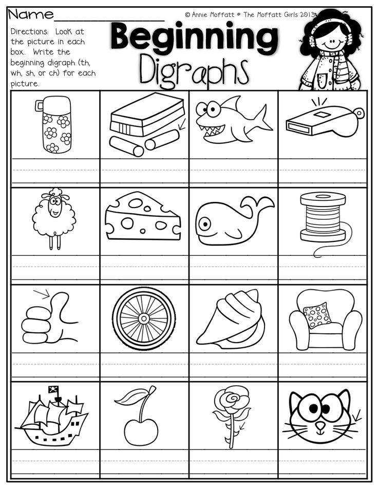 Write the beginning digraphs for each picture th wh sh