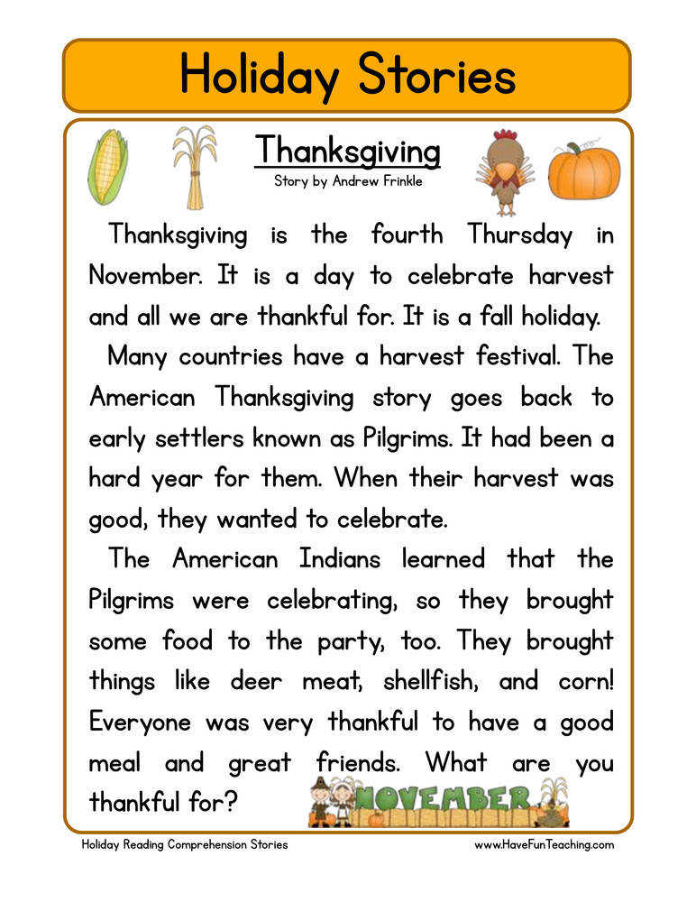 6 Thanksgiving Reading prehension Worksheets