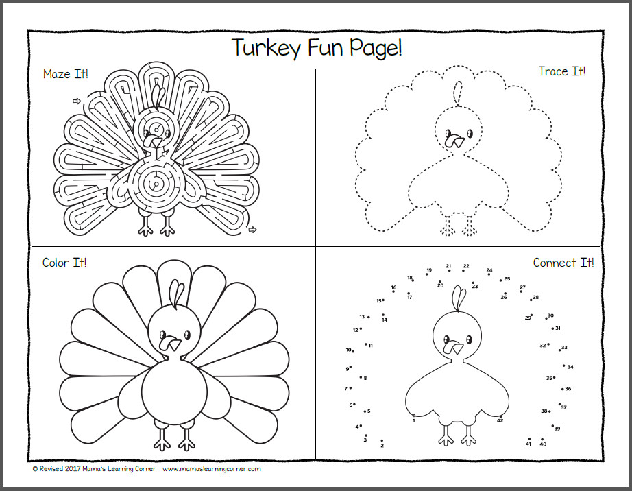 Thanksgiving Worksheet Packet for Kindergarten and First Grade