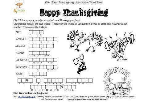 Thanksgiving Worksheets Nutrition A1 480x330