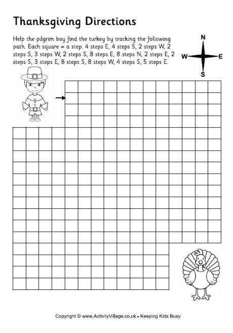 Thanksgiving Directions Worksheet