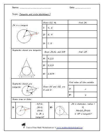 Tangents and Circles Worksheet Five Pack Math Worksheets Land