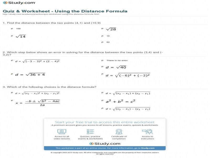 Quiz & Worksheet Using The Distance Formula