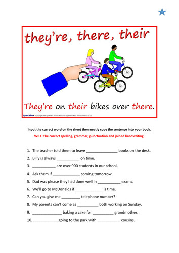 Differentiated worksheet Y4 5 their they re there your you re wear were we re were by hana91 Teaching Resources Tes