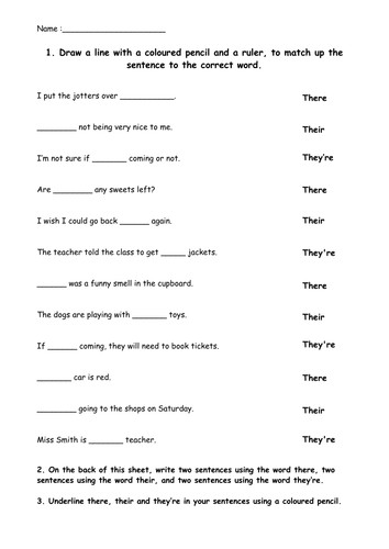 There their and they re worksheet by EvMajor14 Teaching Resources Tes