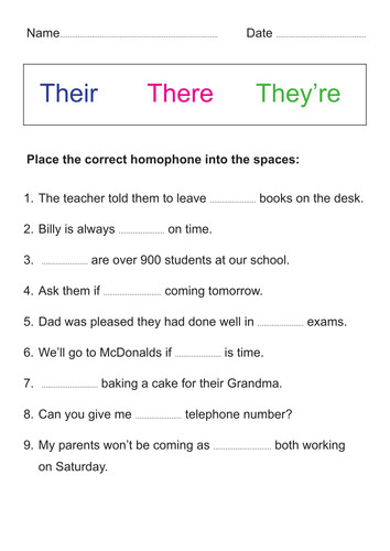 Their There They Re Worksheet Homeschooldressage Com