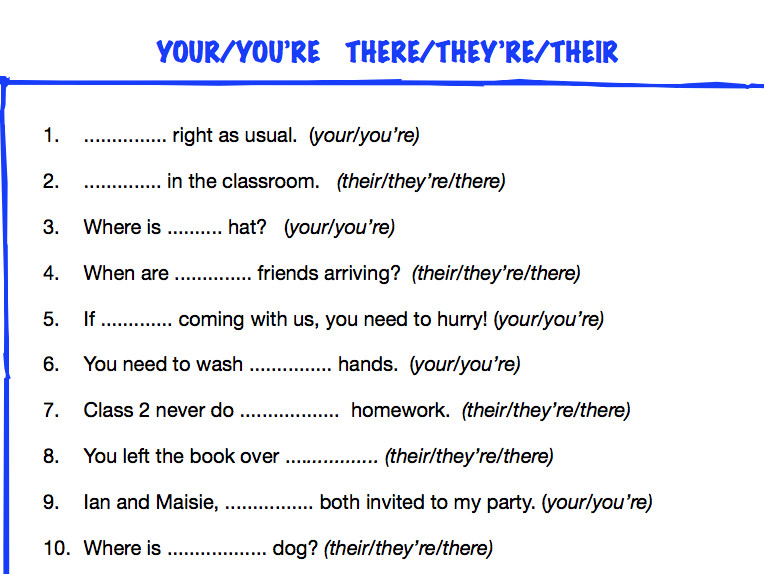 KS2 worksheet your you re their there they re by ReallLanguages Teaching Resources Tes