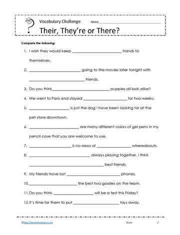 Their there they Re Worksheets