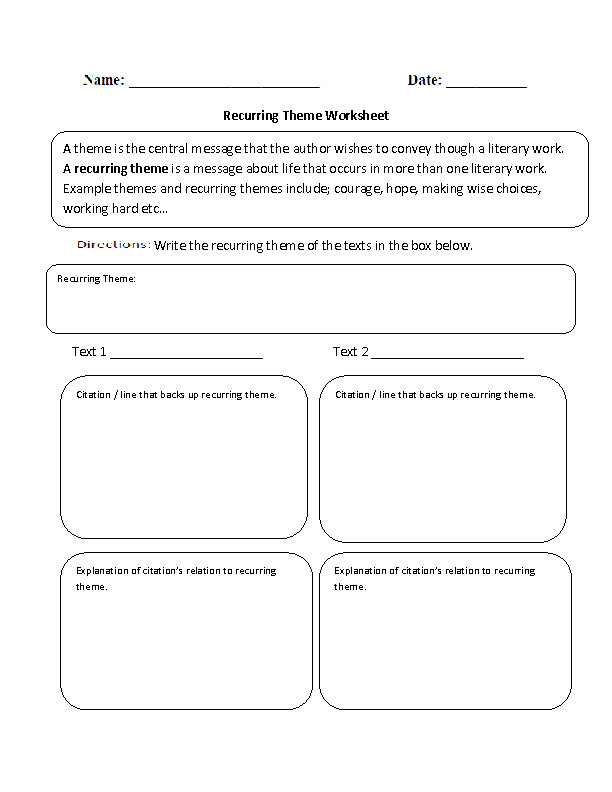 Grades 6 12 Theme Worksheets