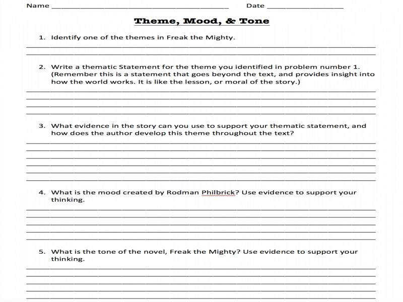 100 Teaching Theme Worksheets