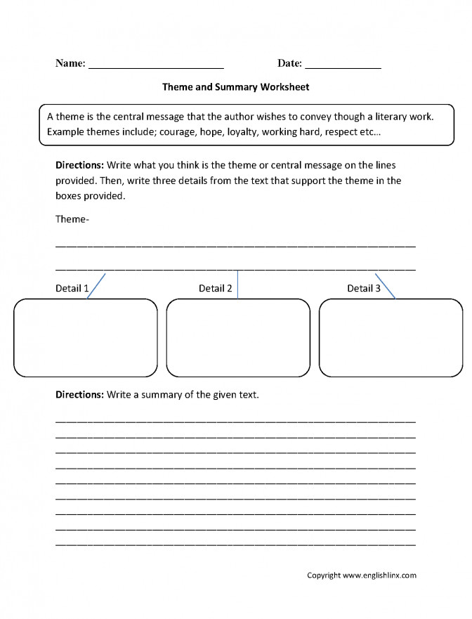 Englishlinx Theme Worksheets Lesson Plans 4th Grade Language Arts Summary Work Theme Lesson Plans 4th