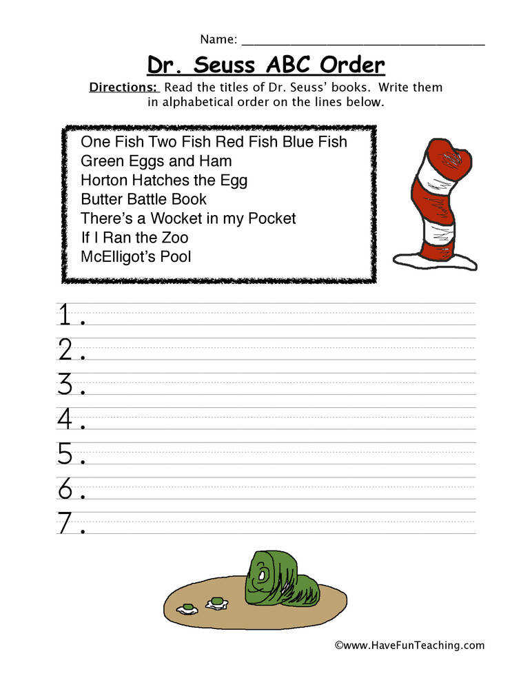 Dr Seuss Alphabetical Order Worksheet