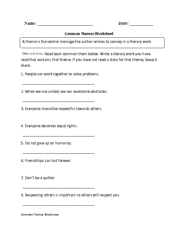 mon Themes Worksheet