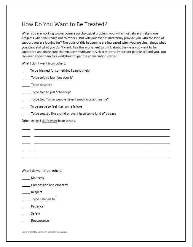 This worksheet is designed to help people think about how others can help them with their psychological problems The worksheet asks them to think