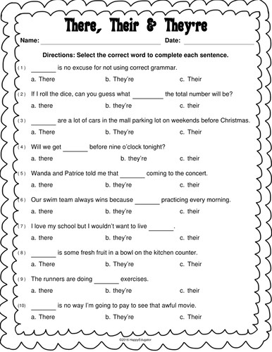 There Their and They re Worksheet by Happyedugator Teaching Resources Tes
