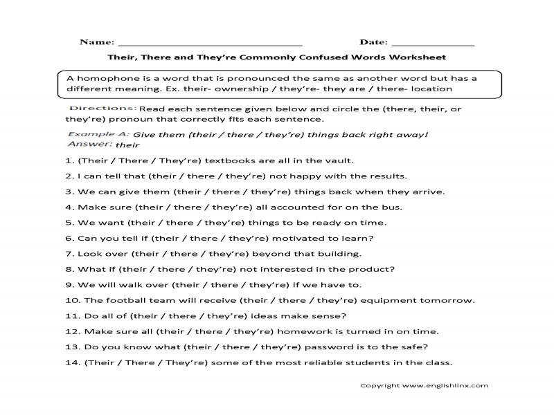 Worksheet monly Confused Words Worksheets Their There They39Re