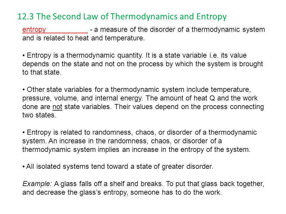 12 3 The Second Law of Thermodynamics and Entropy
