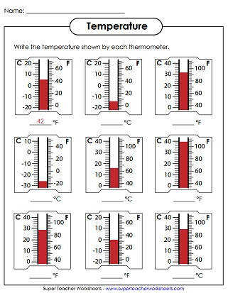 Temperature Worksheets Thermometer