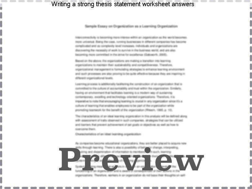 Thesis Statement Worksheet | Homeschooldressage.com