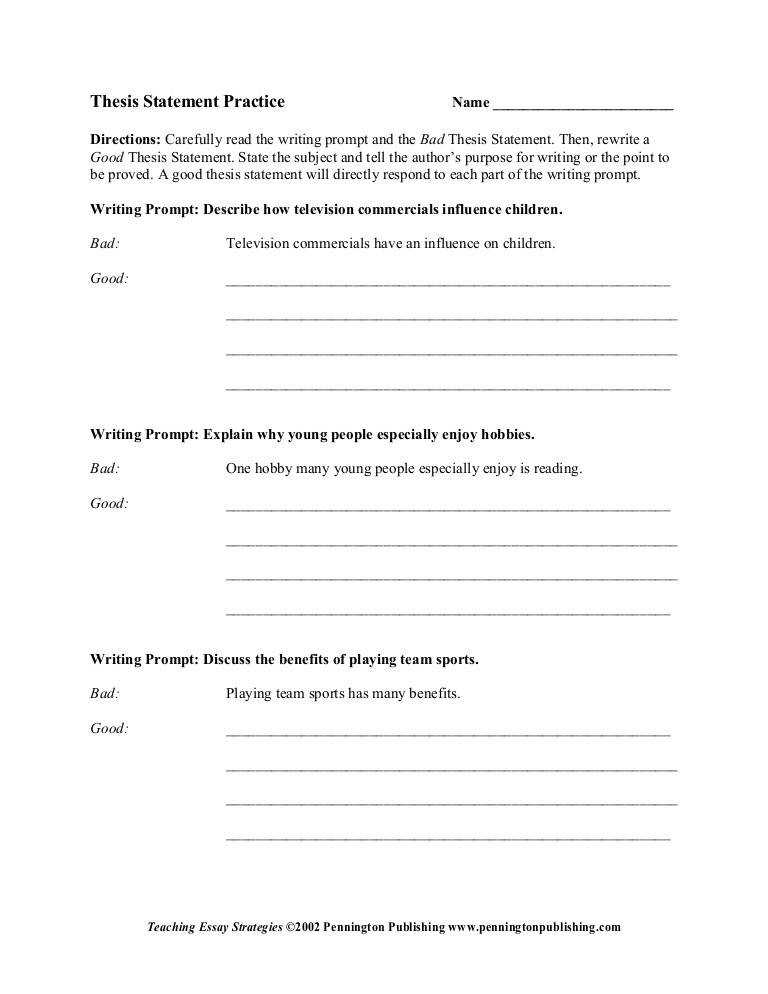 Identifying And Creating A Good Thesis Statement Worksheet