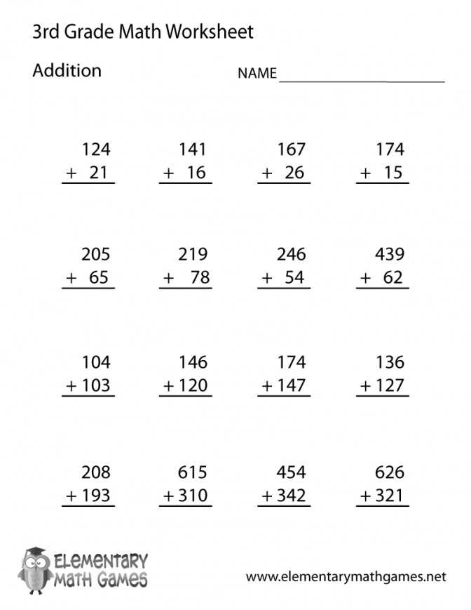 Third Grade Addition Worksheet Math Worksheets For 3rd Place Value Prin Math Worksheet For 3rd Grade