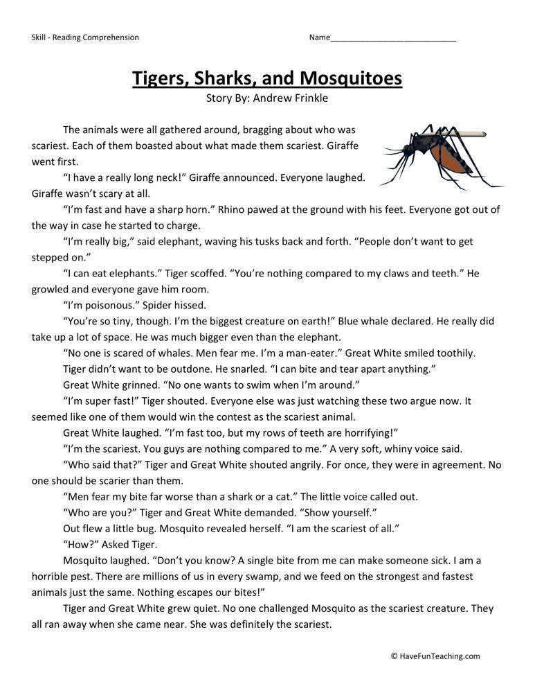 free tigers sharks mosquitoes third grade reading prehension worksheet