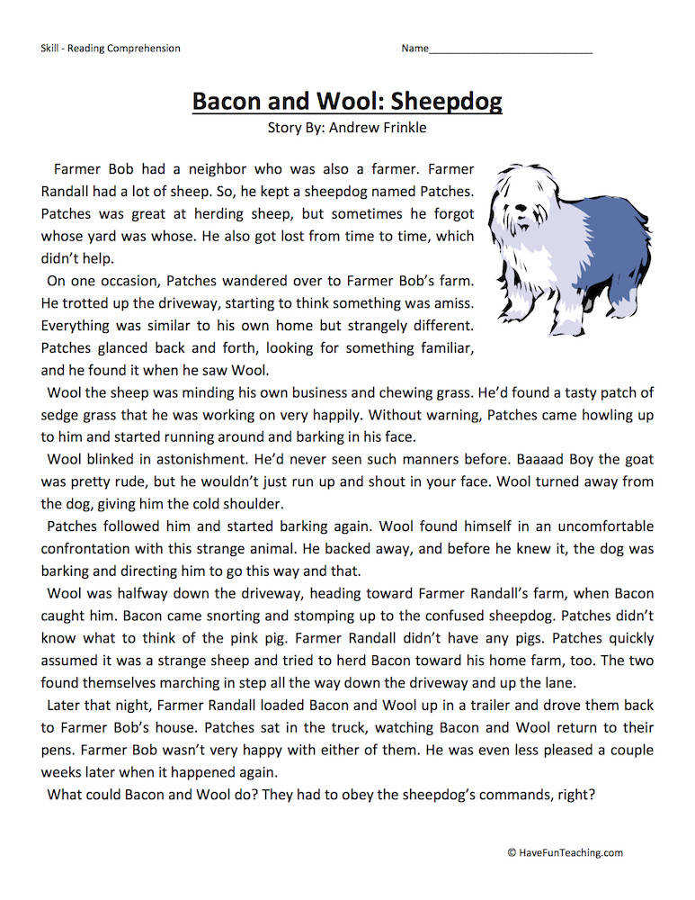 Bacon and Wool Sheepdog – Reading prehension Worksheet